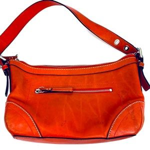 Vtg Coach Orange Leather Handbag Preowned Loved
